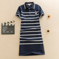Dress Summer 2020 Navy / white, bright red / white M,L,XL,2XL,3XL Mid length dress singleton  Short sleeve Sweet Polo collar High waist stripe Three buttons A-line skirt routine Others Type A Enjoy it Embroidery 1331# More than 95% knitting cotton college