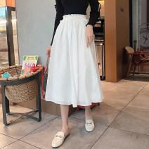 skirt Autumn 2020 S,M,L,XL,2XL White, black, khaki Mid length dress Versatile Natural waist Umbrella skirt Solid color Type A 81% (inclusive) - 90% (inclusive) other Self made ancient rhyme cotton
