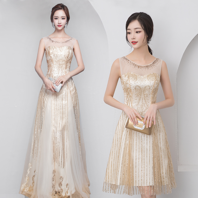 Dress / evening wear Annual meeting performance of wedding and adult party company XXLSMLXL Champaign gold long Champaign gold short Korean version longuette middle-waisted Autumn 2016 Fall to the ground U-neck Bandage spandex 18-25 years old LF1021 Sleeveless Solid color Tslyzm other other