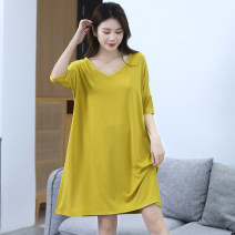 Nightdress Faridian / Fadian Black, light gray, dark gray, yellow, bean green L (80-105 kg), XL (100-130 kg), 2XL (125-155 kg), 3XL (150-180 kg) Simplicity Middle sleeve Leisure home Middle-skirt summer Solid color middle age V-neck viscose  81% (inclusive) - 95% (inclusive) Regenerated fiber 200g