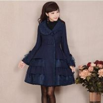 woolen coat Winter of 2019 S,M,L,XL Navy Blue polyester fiber 71% (inclusive) - 80% (inclusive) Medium length Long sleeves commute Single breasted routine Self cultivation lady 25-29 years old polyester fiber