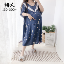 Home skirt Other / other 4XL (130-180 Jin recommended), 5XL (180-300 Jin recommended), note: Cotton silk will shrink a few centimeters after washing Short sleeve summer Crew neck ultrathin lovely Cartoon animation cotton Woven cloth