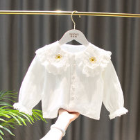 shirt White, white pre-sale: delivery in mid March Other / other female The recommended height is 80cm tag 5, 85CM tag 7, 90cm tag 9, 90-95cm tag 11 and 100cm tag 13 spring and autumn Long sleeves Korean version Solid color cotton Double collar Cotton 95% polyurethane elastic fiber (spandex) 5%