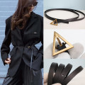 Belt / belt / chain top layer leather Black gold button, black silver button, this is a fine version female belt Versatile Youth, middle age Pin buckle 1cm copper 145cm