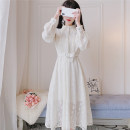 Dress Autumn 2020 White, light apricot S,M,L longuette singleton  Long sleeves Sweet Doll Collar High waist Solid color Socket Big swing shirt sleeve Others Type A Button, lace 30% and below Lace princess