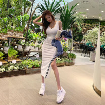 Dress Summer 2021 White, black S,M,L Mid length dress singleton  Sleeveless commute V-neck Elastic waist Solid color Socket Pencil skirt other camisole 25-29 years old T-type Korean version 81% (inclusive) - 90% (inclusive) brocade cotton