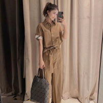 Jumpsuit / pants 71% (inclusive) - 80% (inclusive) trousers cotton High waist Versatile khaki 2 = s, 3 = m, 4 = L, 5 = XL Spring 2021 Overalls 5100118-150533-001 Pretend to be amashizheng