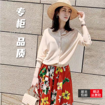 Wool knitwear Spring 2021 2 = s, 3 = m, 4 = L, 5 = XL Black, apricot, light brown Long sleeves singleton  Socket Cellulose acetate 51% (inclusive) - 70% (inclusive) Regular routine Sweet Straight cylinder Low crew neck routine Solid color Socket 5499093-1t26711-005 Pretend to be amashizheng Button
