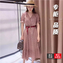 Dress Summer 2021 Red, pink 2 = s, 3 = m, 4 = L, 5 = XL longuette singleton  Long sleeves commute V-neck High waist lattice Socket Princess Dress routine Others 30-34 years old Type H Pinge Dixin lady Hairy collar 1500326-1S13815-001 More than 95% other polyester fiber