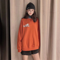 Sweater / sweater Spring 2021 Orange 2 = s, 3 = m, 4 = L, 5 = XL Long sleeves routine Socket singleton  routine Crew neck easy commute routine letter 30-34 years old 96% and above Pretend to be amashizheng Korean version cotton printing cotton Cotton liner