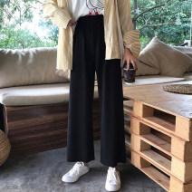 Casual pants black Autumn of 2019 Ninth pants Wide leg pants Natural waist commute routine 31% (inclusive) - 50% (inclusive) cotton Korean version polyester fiber
