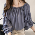 Lace / Chiffon Autumn of 2018 Blue, apricot, pink three quarter sleeve commute Socket singleton  easy Regular One word collar Solid color puff sleeve 25-29 years old Three dimensional decoration, 3D Korean version