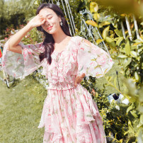Dress Summer 2020 Broken flowers L,M,S longuette singleton  three quarter sleeve commute V-neck High waist Decor Socket Big swing Petal sleeve Others 25-29 years old Retro Ruffle, fold, lace, print 71% (inclusive) - 80% (inclusive) Chiffon cotton