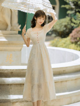Dress Summer 2020 Apricot S,M,L longuette singleton  Short sleeve commute square neck High waist Solid color zipper A-line skirt puff sleeve 18-24 years old Type A court Button, zipper, lace Lace