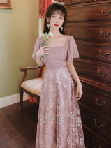 Dress Summer 2020 Pink Purple L,S,M longuette singleton  Short sleeve square neck High waist Decor A-line skirt Flying sleeve Type A Embroidery, Gouhua, hollowing out, stitching, lace