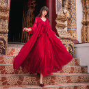 Dress Spring 2020 claret M,S,L longuette Two piece set Long sleeves Sweet V-neck High waist Solid color Big swing bishop sleeve camisole Type A Lace up, stitching Chiffon Bohemia