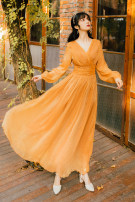 Dress Autumn 2020 Desert Gold S,M,L longuette singleton  Long sleeves commute V-neck High waist Solid color Socket Big swing routine Breast wrapping 25-29 years old Type A fold Chiffon polyester fiber
