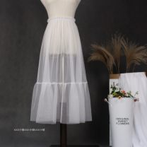 skirt Spring 2020 Skirt length: 70cm, skirt length: 60cm, skirt length: 80cm, skirt length: 90CM Dark gray, black, apricot, white, light gray, red Mid length dress Natural waist Ruffle Skirt Solid color Type H Ruffles, hollowed out, pleated, gauze mesh, stitching