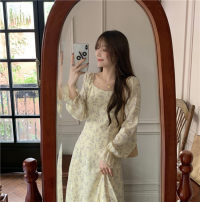 Women's large Spring 2021 Apricot Dress singleton  commute moderate Socket Long sleeves Korean version square neck Other / other 31% (inclusive) - 50% (inclusive) Medium length