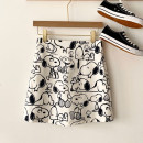 skirt Spring 2021 S,M,L white Short skirt commute High waist A-line skirt Cartoon animation Type A 18-24 years old More than 95% other Ocnltiy other printing Korean version