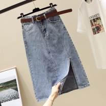skirt Spring 2021 S,M,L,XL,2XL blue Mid length dress commute High waist A-line skirt Solid color Type A 25-29 years old More than 95% Denim Ocnltiy other pocket Korean version