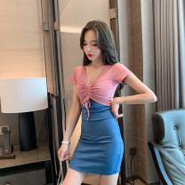 Dress Summer 2020 Black with red, pink with blue S,M,L,XL Short skirt singleton  Short sleeve commute V-neck High waist Socket One pace skirt routine 18-24 years old Type H Korean version Pleat, pleat 81% (inclusive) - 90% (inclusive) cotton