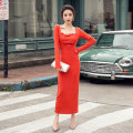 Dress Autumn 2020 Orange S,M,L,XL longuette singleton  Long sleeves commute square neck High waist Solid color Socket One pace skirt routine 25-29 years old Type H zipper polyester fiber