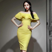 Dress Summer of 2019 yellow S,M,L,XL Mid length dress singleton  Short sleeve commute One word collar High waist Solid color zipper One pace skirt Sleeve Others 25-29 years old Type H Other / other Korean version Lotus leaf edge 31% (inclusive) - 50% (inclusive)