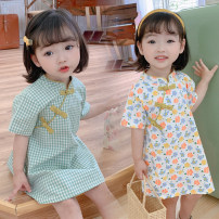 Dress Green, blue, orange, pink, small fresh flowers, flowers female Other / other The recommended height is about 80cm for size 80, 90cm for Size 90, 100cm for size 100, 105cm for Size 110, 110cm for Size 120 and 120cm for Size 130 Other 100% summer Chinese style Short sleeve Broken flowers cotton