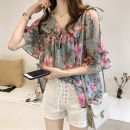 Lace / Chiffon Summer 2020 White (for white bra), blue (for white bra), yellow (for white bra) M,L,XL,2XL,3XL,4XL elbow sleeve commute Socket singleton  easy Medium length V-neck Decor pagoda sleeve 25-29 years old Bow, ruffle, open back, Auricularia auricula, lace, printing, bandage Korean version