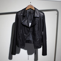 leather clothing Other / other Spring of 2019 M. L, XL, 2XL, 3XL, 4XL, 5XL, one size smaller Black, black [plus cotton] have cash less than that is registered in the accounts Long sleeves Self cultivation commute tailored collar zipper routine PU Button 25-29 years old Wash skin
