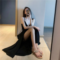 Dress Summer of 2019 Black, striped Average size longuette singleton  Sleeveless commute V-neck High waist stripe Socket Big swing other camisole 18-24 years old Type H Korean version Q346 81% (inclusive) - 90% (inclusive) knitting cotton