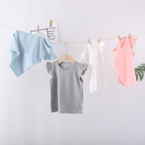 T-shirt White, gray, blue, pink Come on, Benner 66cm,73cm,80cm,90cm,100cm female summer Crew neck princess No model nothing cotton Solid color Cotton 100% Class A 3 months, 6 months, 12 months, 9 months, 18 months, 2 years old, 3 years old Chinese Mainland Zhejiang Province Jiaxing City