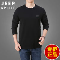 T-shirt Fashion City Black, blue, gray, army green routine XL,L,M,4XL,XXL,XXXL Jeep / Jeep Long sleeves Crew neck easy Other leisure spring 20MA783TS20309519 youth routine American leisure other 2021 Solid color Cotton ammonia Sanding International brands