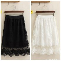 skirt Autumn of 2018 White, black Mid length dress Sweet Natural waist Fluffy skirt Solid color Type A 18-24 years old 30% and below Lace polyester fiber college