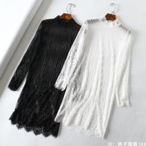 Lace / Chiffon Spring of 2019 Eyelashes - white high collar, Eyelashes - white low collar, Eyelashes - black high collar, Eyelashes - Black low collar, vertical stripes - white high collar, vertical stripes - white low collar, vertical stripes - black high collar, vertical stripes - Black low collar