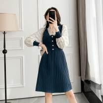 Dress Spring 2021 Black, haze blue XL,S,L,M Mid length dress singleton  Long sleeves commute V-neck High waist Solid color Socket A-line skirt routine Type A Xi can Korean version 8502# knitting