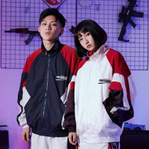Windbreaker Youth fashion FRESHNISS M L XL White blue have cash less than that is registered in the accounts easy zipper Other leisure autumn teenagers stand collar tide LY 630 Geometric pattern No iron treatment Side seam pocket Color matching polyester fiber