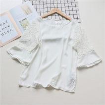 shirt white Summer 2020 other 96% and above Short sleeve Regular Crew neck ELAKE