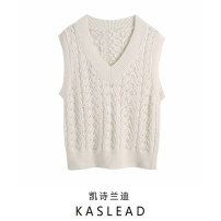 Wool knitwear Winter 2020 S,M,L Beige Sleeveless Socket other 71% (inclusive) - 80% (inclusive) Regular street V-neck routine Solid color Socket Europe and America