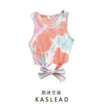 T-shirt tie-dyed S,M,L Summer 2021 Sleeveless Crew neck have cash less than that is registered in the accounts routine street cotton 71% (inclusive) - 85% (inclusive) Europe and America