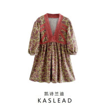 Dress Summer 2020 Decor XS,S,M,L Short skirt Long sleeves street V-neck Decor Socket Europe and America