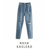 Jeans Summer 2020 blue XS,S,M,L trousers Natural waist Straight pants