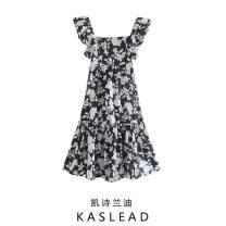 Dress Summer 2021 Polychromatic XS,S,M,L Mid length dress Short sleeve street Decor Socket printing Europe and America