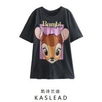T-shirt Carbon ash S,M,L Summer 2021 Short sleeve Crew neck Regular routine street cotton 86% (inclusive) -95% (inclusive) Cartoon animation printing Europe and America