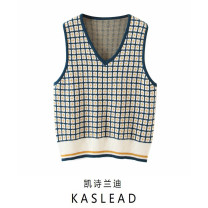 Wool knitwear Autumn 2020 S, M Green, black, red Sleeveless Socket other 71% (inclusive) - 80% (inclusive) Regular street easy V-neck routine lattice Socket Europe and America