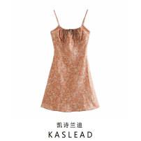 Dress Summer 2020 Pink S,M,L Short skirt street Decor Socket camisole printing Europe and America