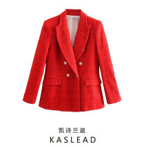 suit Spring 2021 gules XS,S,M,L Long sleeves routine tailored collar double-breasted street routine Solid color Button