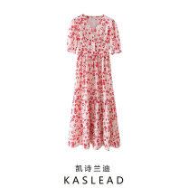 Dress Summer 2021 Decor XS,S,M,L Mid length dress Short sleeve street V-neck Broken flowers Socket routine printing Europe and America