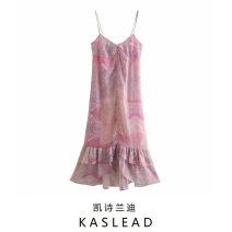 Dress Summer 2021 Polychromatic XS,S,M,L Mid length dress street V-neck Decor Socket printing Europe and America